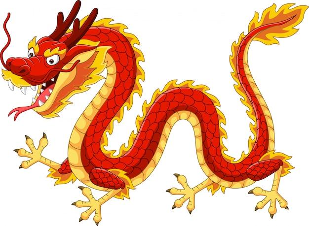 Мультяшный красный китайский дракон летит