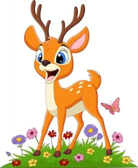 草の中の漫画鹿