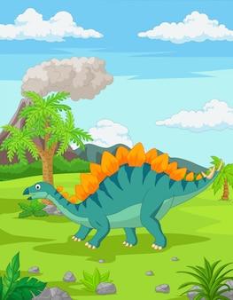 Мультяшный стегозавр в джунглях