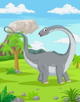 Мультяшный динозавр в джунглях