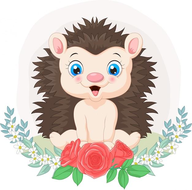 花の背景を持つ漫画赤ちゃんハリネズミ