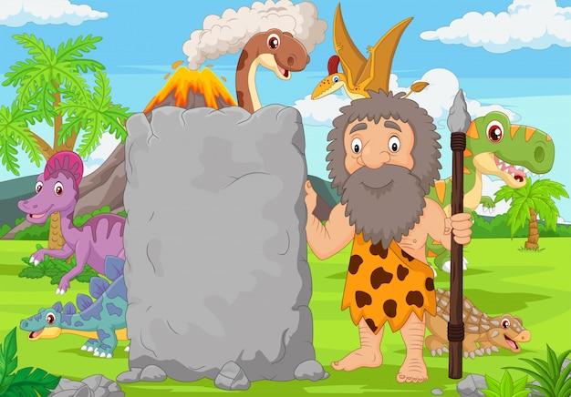 Мультяшный пещерный человек держит каменный знак в лесу