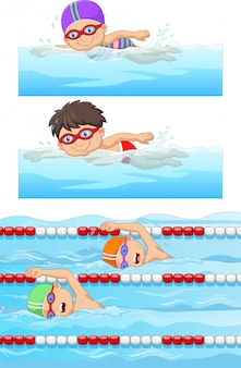 スイミングプールで水泳選手と水泳スポーツセット