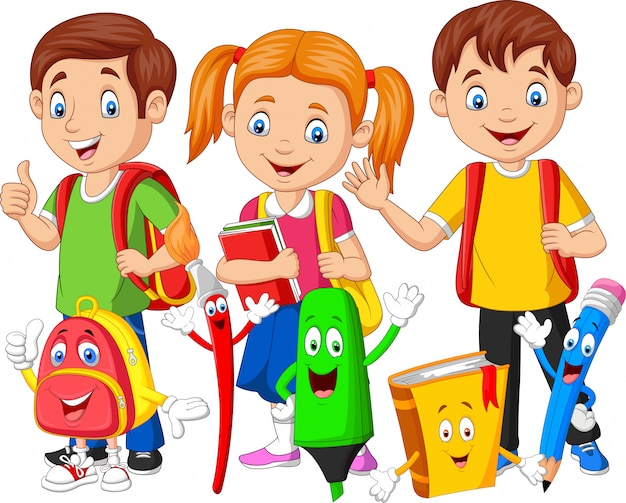 学用品と漫画幸せな学校の子供たち