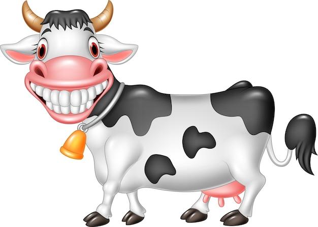 漫画、幸せ、牛、白、背景