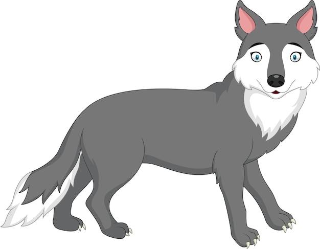 白い背景に漫画オオカミ