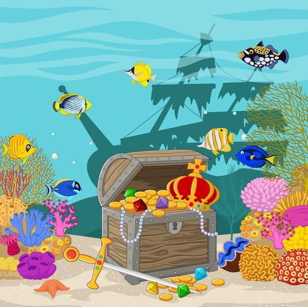 水中の背景にある宝箱