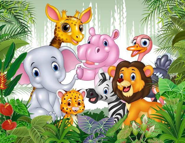 ジャングルの漫画野生動物