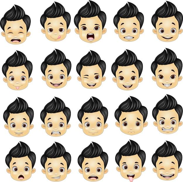小さな男の子の様々な顔の表現