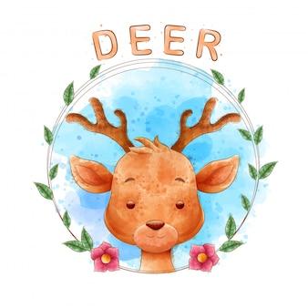 水彩画の背景を持つ花のフレームを持つ鹿漫画