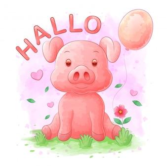 水彩、風船、花の背景を持つ豚漫画
