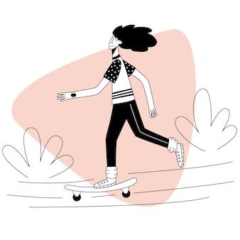 女の子が夏の日にスケートボードに乗る