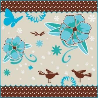 Декупаж цветы скрапбукинга птиц силуэт фоне