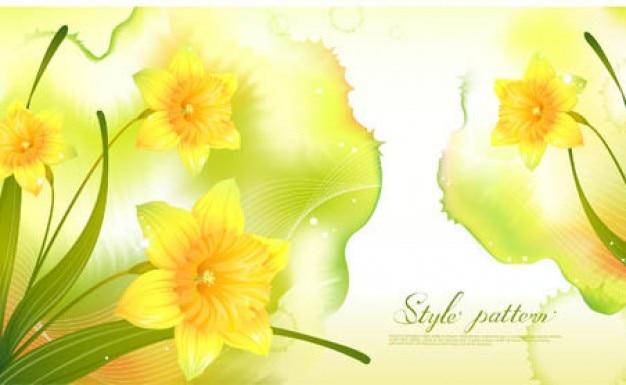 黄色の背景に春の水仙