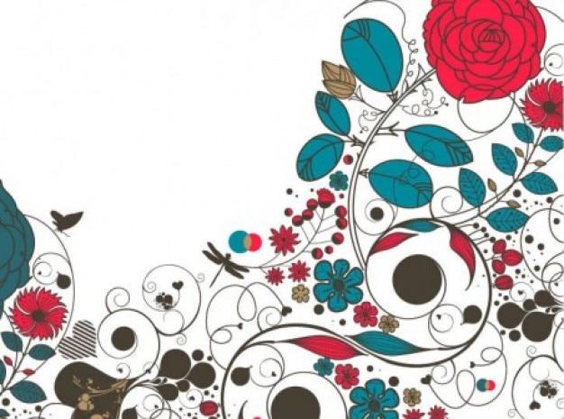 Красная роза цветочный узор на белом фоне