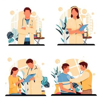 医師や看護師の肖像画の人々キャラクターフラットデザイン