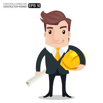 プロジェクトの青写真の漫画のキャラクターを保持している建設労働者、エンジニアまたは建築家。
