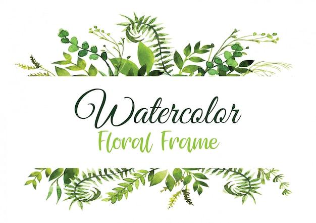 緑の水彩シダと花の緑のカードデザインは、熱帯林の緑のハーブの装飾的なフレーム、水彩画フレームを残します。