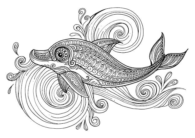 スクロールした海の波で手描きのイルカ