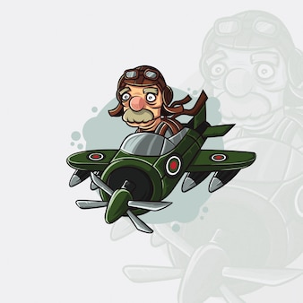 老人パイロット文字