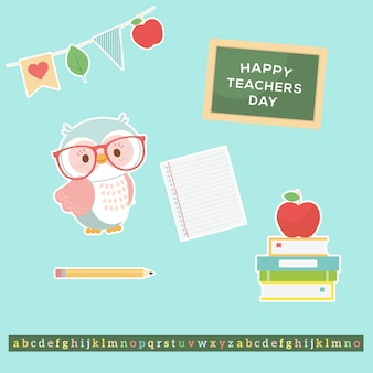 カラフルな世界教師の日フラットデザイン
