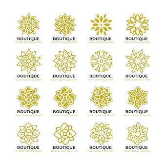 幾何学的な花の自然のロゴのテンプレート