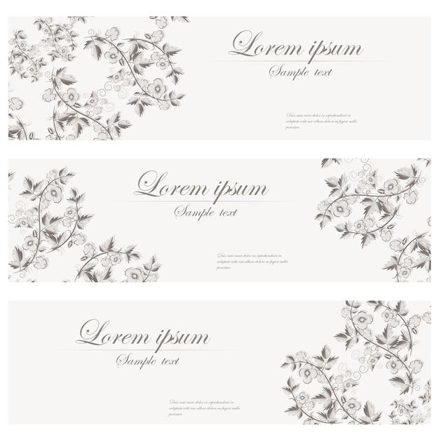 花のバナーベクトルレトロスタイル。