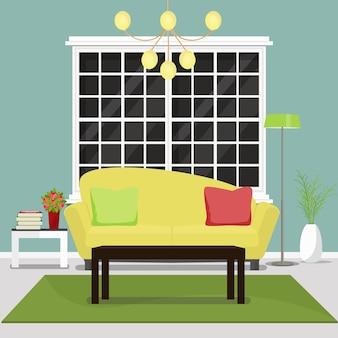 Мебель для гостиной. дизайн интерьера уютной гостиной иллюстрации