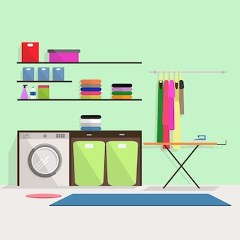 Прачечная со стиральной машиной и другими элементами