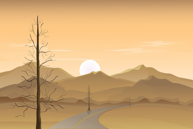 夕暮れの風景、砂漠の風景、ベクトルの背景、山と砂漠の道端