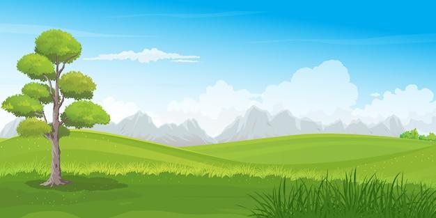 美しい緑の丘