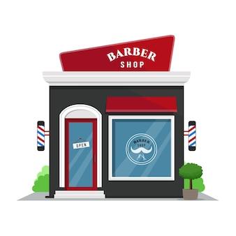 理髪店。フラットデザインスタイルのショップアイコン。