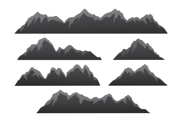 Горный сет. ассортимент векторных иллюстраций в горах, элементы дизайна на открытом воздухе