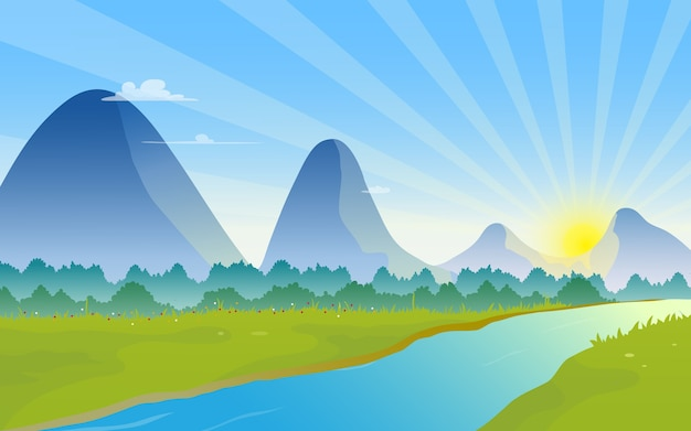 地平線に日の出がある山の風景。