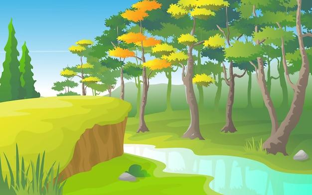 川の側に密集した森のある川の風景。