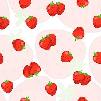 白い背景とイチゴのシームレスなパターン。