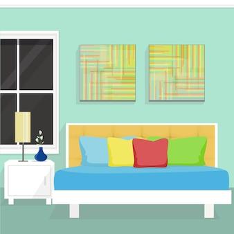 Дизайн интерьера спальни. векторная иллюстрация