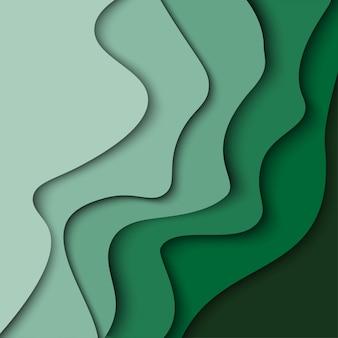 紙と抽象的なグリーンウェーブの背景は、図形をカットしました。ビジネスプレゼンテーションのためのベクトルデザインレイアウト