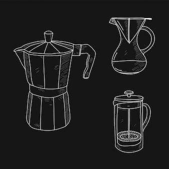コーヒーの準備の手描きセット。黒の背景に