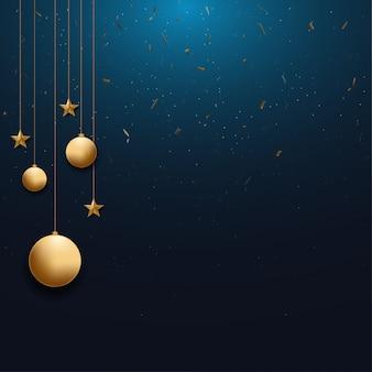 Новогодний фон с золотой елочный шар и звезда и место для текста