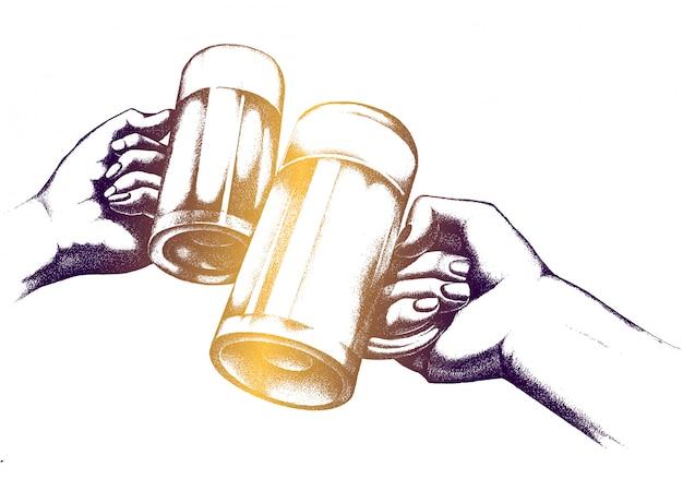 Иллюстрация пивной фестиваль. слинк очки в руках.