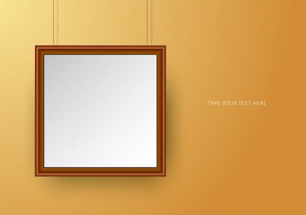 黄土色の正方形のフォトフレームモックアップテンプレート。