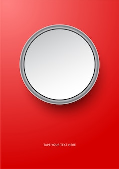 赤の丸い写真炎モックアップテンプレート。
