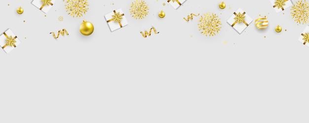クリスマスパーティーのポスターと幸せな新年のゴールドの背景。
