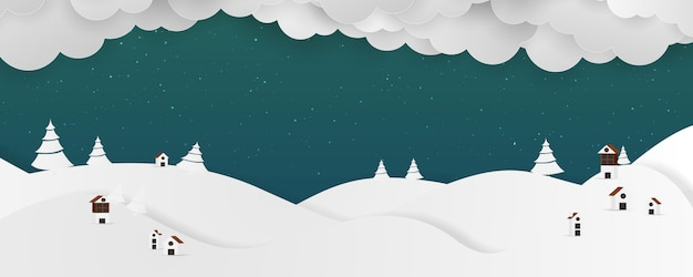 Зимний пейзаж фон. клаус на небе.