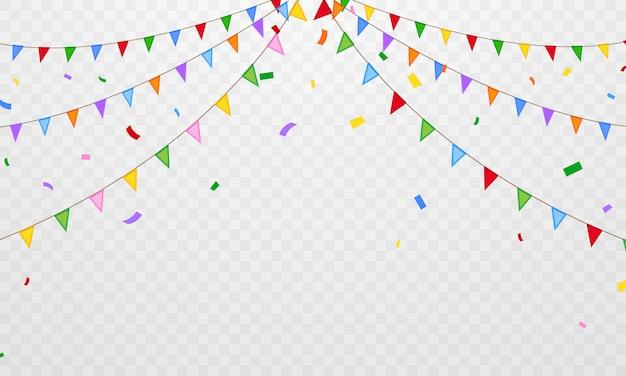 フラグ紙吹雪パーティーカラフルなお祝いの背景。