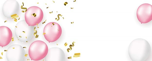 ピンクの白い風船、金の紙吹雪コンセプトデザイン