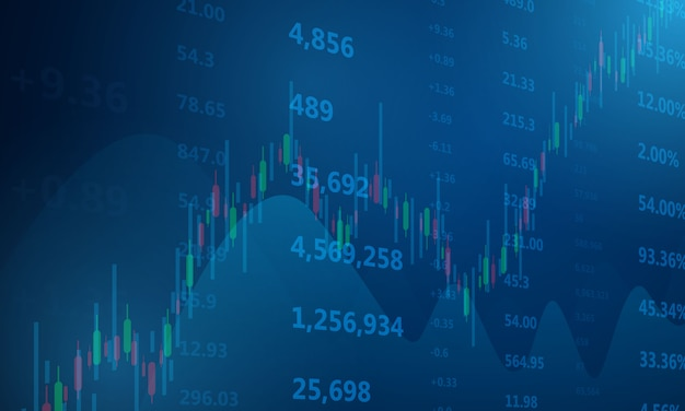 Фондовый рынок, экономический график с диаграммами, бизнес и финансовые концепции и отчеты, абстрактный синий фон технологии связи концепция