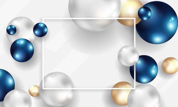 ボールと抽象的な背景。青と金の泡。