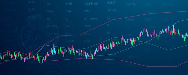 株式市場、図、ビジネスおよび財務の概念とレポート、抽象的なテクノロジーコミュニケーションコンセプトの背景を持つ経済グラフ